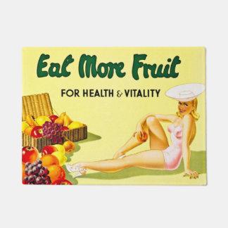 Coma más fruta para el vintage de la salud y de la felpudo