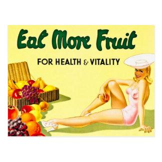 Coma más fruta para el vintage de la salud y de la tarjetas postales