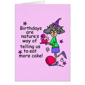 Coma más humor del cumpleaños de la torta tarjeta pequeña