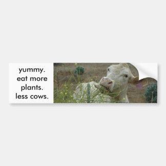 coma más plantas.  menos vacas pegatina para auto