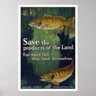 Coma más poster 1917 de los pescados