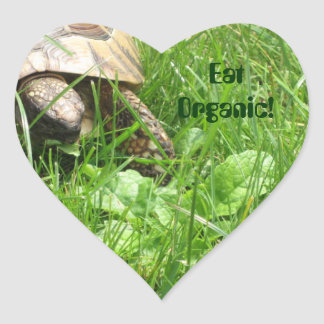 ¡Coma orgánico! Calcomanía De Corazón Personalizadas