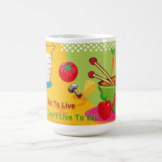 Coma para vivir pérdida de la dieta y de peso taza de café