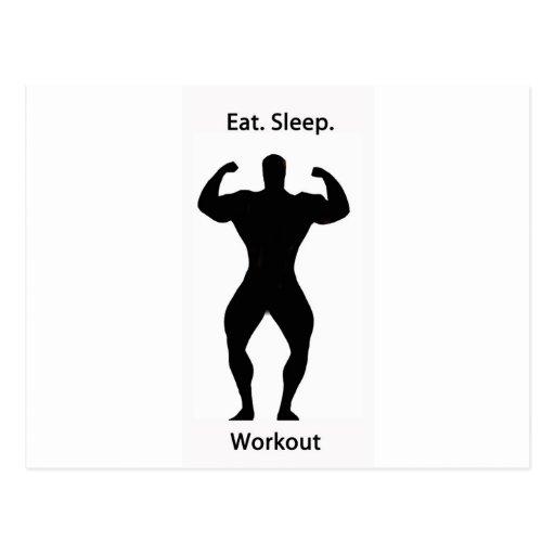 Coma. sleep.workout. tarjeta postal