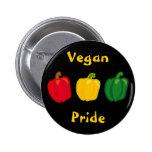 Coma su botón del orgullo del vegano de las pimien