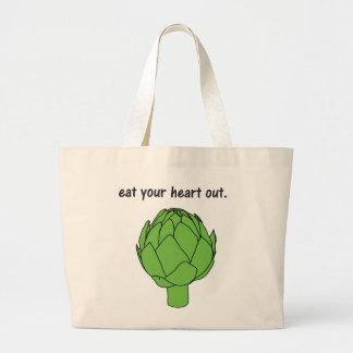 coma su corazón hacia fuera. (alcachofa) bolsa tela grande