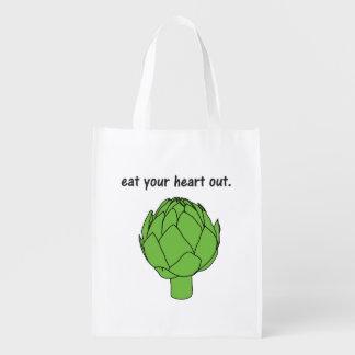 coma su corazón hacia fuera. (alcachofa) bolsas reutilizables