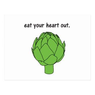 coma su corazón hacia fuera. (alcachofa) tarjetas postales