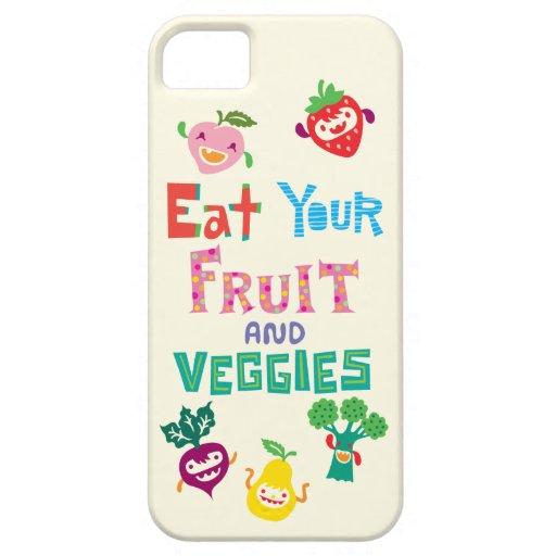 Coma su fruta y Veggies 1 caso del iPhone 5 iPhone 5 Protectores