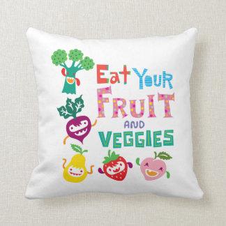 Coma su fruta y Veggies 1 - placa de la melamina Almohada