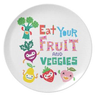 Coma su fruta y Veggies 1 - placa de la melamina Plato De Comida