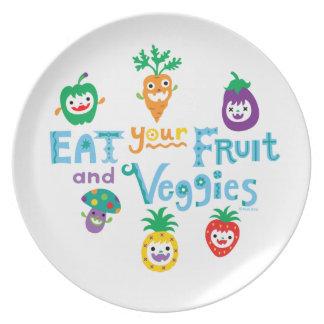 Coma su fruta y Veggies 2 Plato De Comida