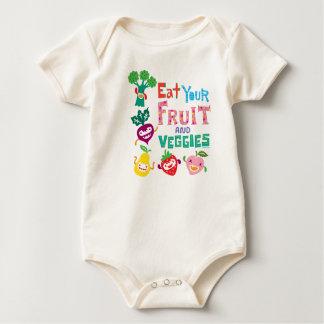 Coma su fruta y Veggies por el pájaro de Andi Mamelucos De Bebé