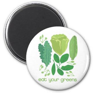 Coma su lechuga mezclada los verdes imán redondo 5 cm