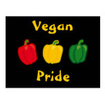 Coma su postal del orgullo del vegano de las pimie