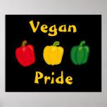 Coma su poster del orgullo del vegano de las pimie póster