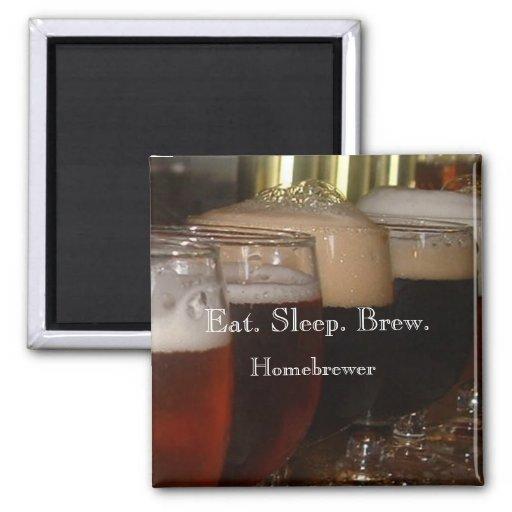 Coma. Sueño. Brew. Imán de Homebrewer