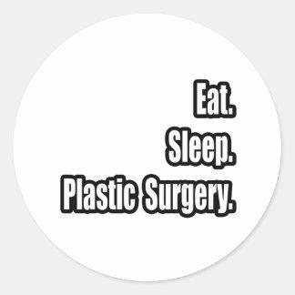 Coma. Sueño. Cirugía plástica Etiquetas Redondas