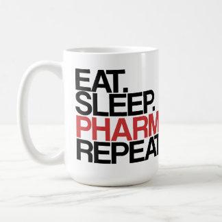 Coma. Sueño. Farmacia. Repetición. Taza