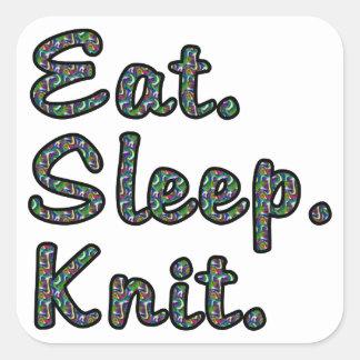 Coma. Sueño. Knit. Pegatina Cuadrada