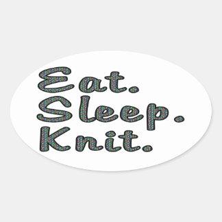 Coma. Sueño. Knit. Pegatina Ovalada