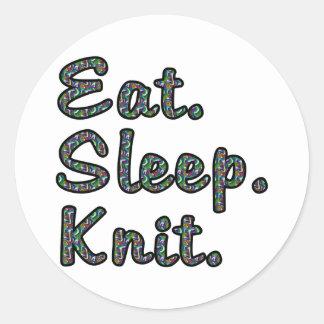 Coma. Sueño. Knit. Pegatina Redonda