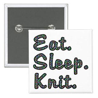 Coma. Sueño. Knit. Pin Cuadrado