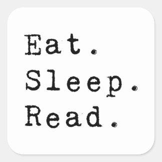 Coma. Sueño. Leído Calcomanía Cuadrada Personalizada