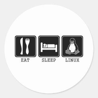 Coma. Sueño. Linux. Etiquetas Redondas