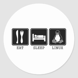 Coma. Sueño. Linux. Pegatina Redonda