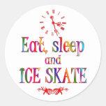 Coma, sueño y patín de hielo etiquetas redondas