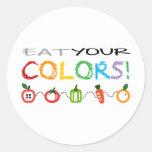 ¡Coma sus colores! Etiquetas Redondas