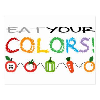 Coma sus colores tarjetas postales