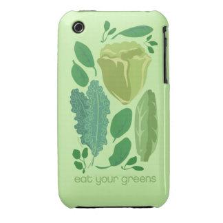 Coma sus hojas mezcladas los verdes de la lechuga funda para iPhone 3