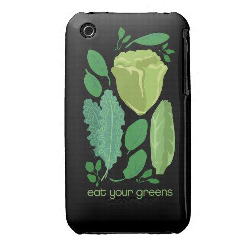 Coma sus hojas mezcladas los verdes vegetarian2 de carcasa para iPhone 3