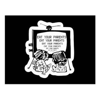 COMA SUS PADRES HYPNO TV - retro divertido Postal