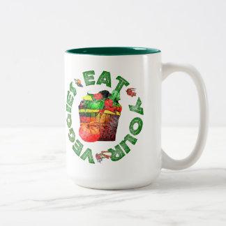 Coma sus Veggies Taza De Café De Dos Colores