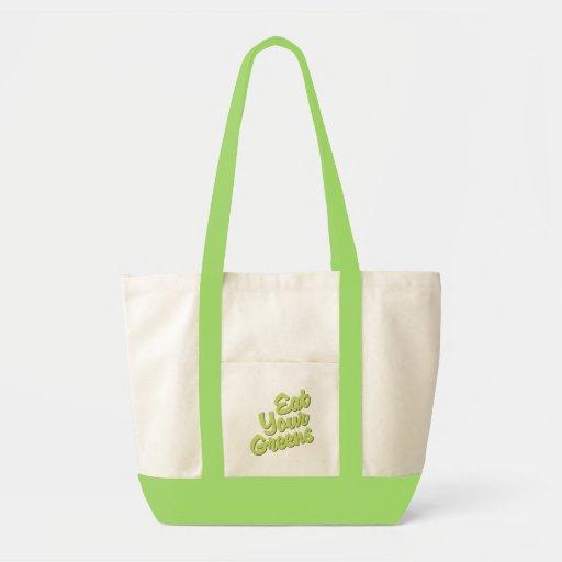 Coma sus verdes bolsas