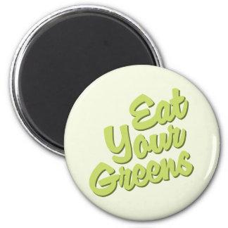 Coma sus verdes imán redondo 5 cm