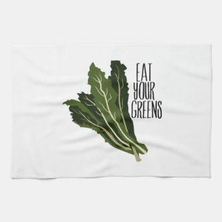 Coma sus verdes toallas de mano
