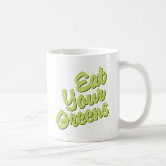 Coma sus verdes tazas