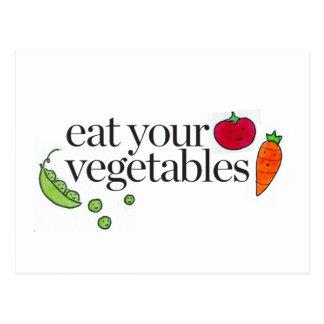 Coma sus verduras postales