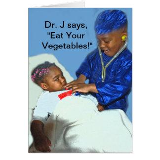 Coma sus verduras tarjeta de felicitación
