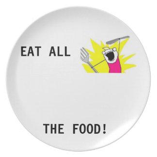 ¡Coma toda la comida! Placa de Meme Platos