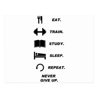 Coma. Tren. Estudio. Sueño. Repetición. Nunca dé Postal
