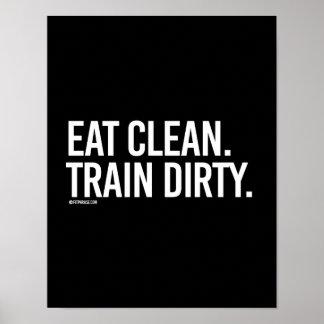 Coma - tren sucio - la aptitud   limpia del póster