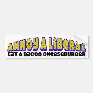 ¡Coma un cheeseburger del tocino! Pegatina Para Auto