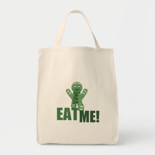 ¡CÓMAME! Hombre de pan de jengibre - verde Bolsa Tela Para La Compra