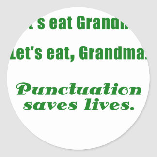 Comamos a la abuela pegatina redonda