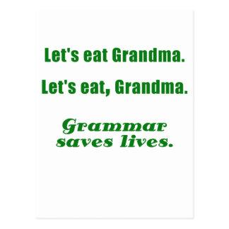 Comamos a la abuela que la gramática ahorra vidas tarjeta postal